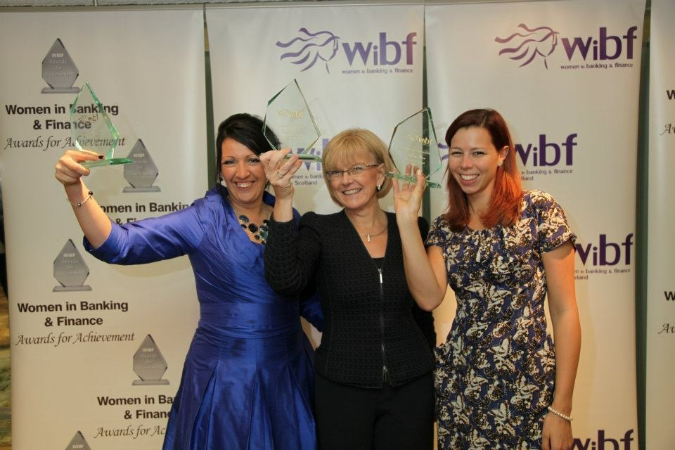 Vanessa with her WIBF award in 2011 (left) with Carole Bernt and Stephanie Niven